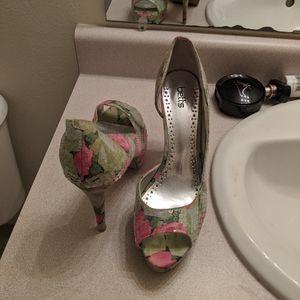Floral open toe heels